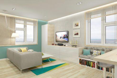 Комната с белым и бирюзовым цветом