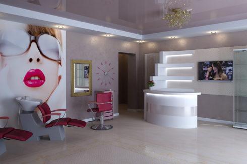 бледно-розовый потолок в салоне