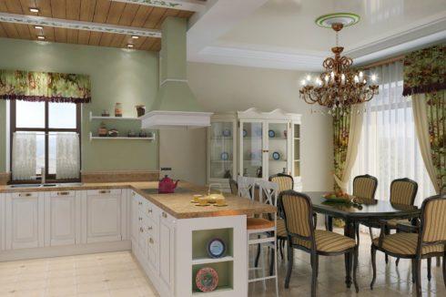 белый потолок с люстрой в столовой