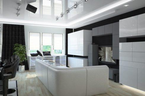 Белый потолок с прожекторами