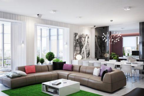 комната с зеленым ковриком