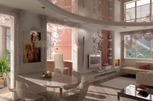бледно-розовый потолок в квартире
