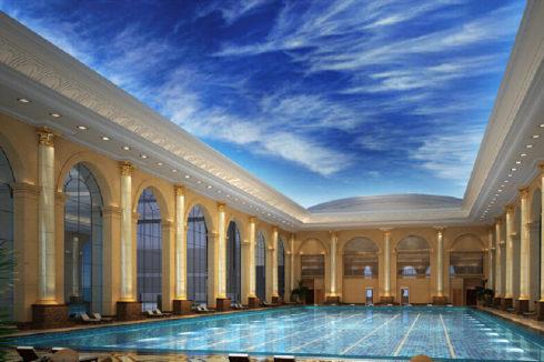 большой бассейн с небесным потолком