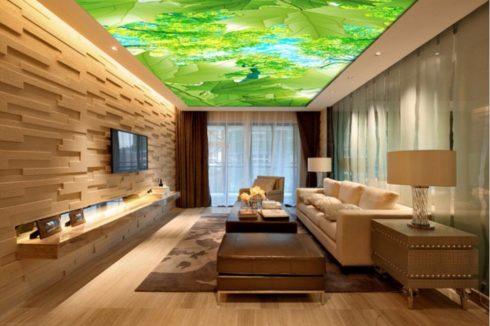 потолок листья фотопечать натяжной