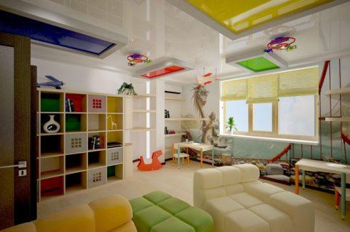 многоуровневый потолок глянец