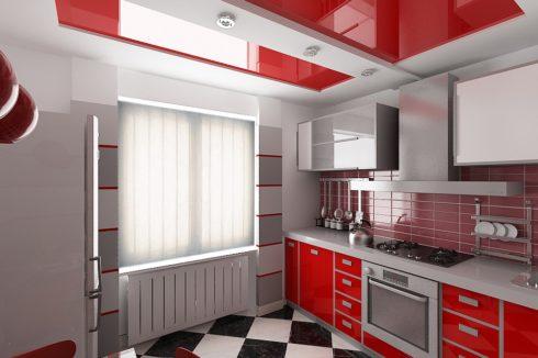 красный глянцевый на кухне