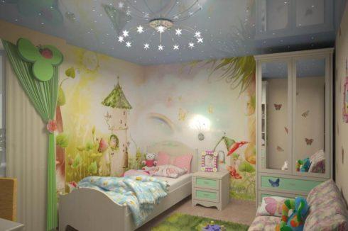 Детская комната с потолком ночного неба