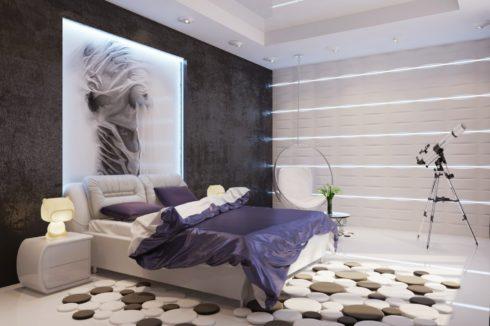 белый глянец потолок спальня
