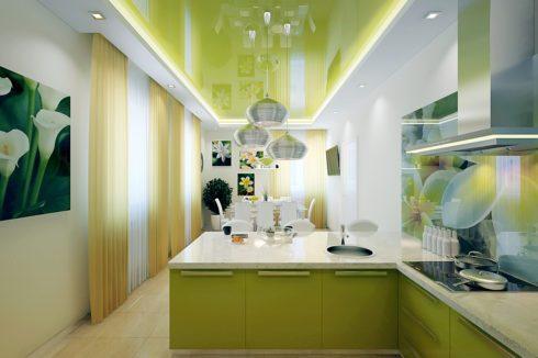светло-зеленый потолок на кухне