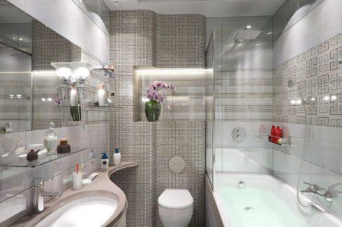 бежевый натяжной ванная