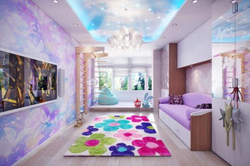 детская комната с небесным потолком