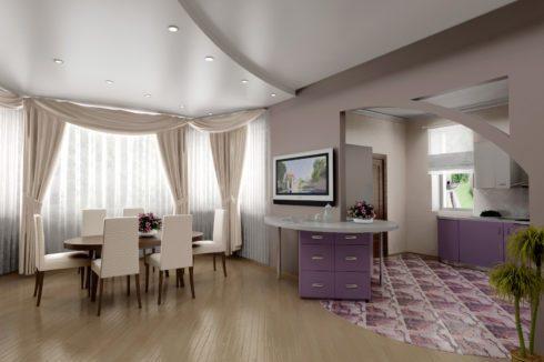 квартира с розовой кухней