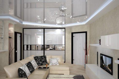 Белая комната с люстрой