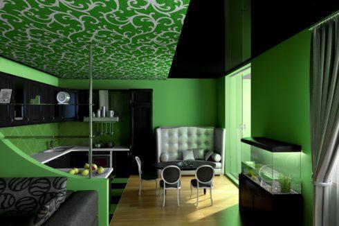 зеленая комната с узорчатым потолком