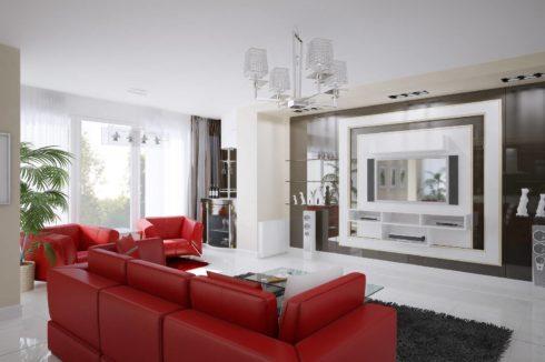 комната с красным диваном