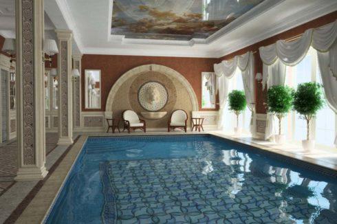бассейн с потолком фреской