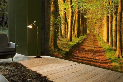 стена с рисунком леса