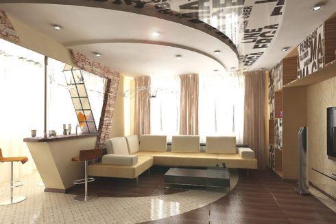 комната с ступеньчатым потолком
