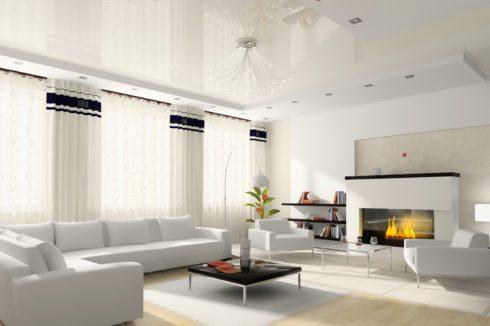 белоснежный потолок в белой квартире