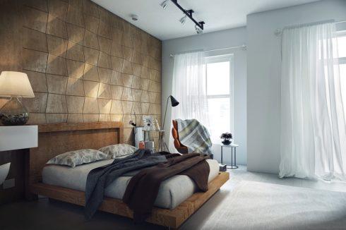 комната с узорчатой стеной