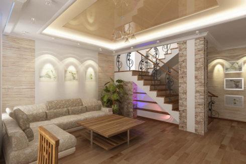песочный потолок в гостиной