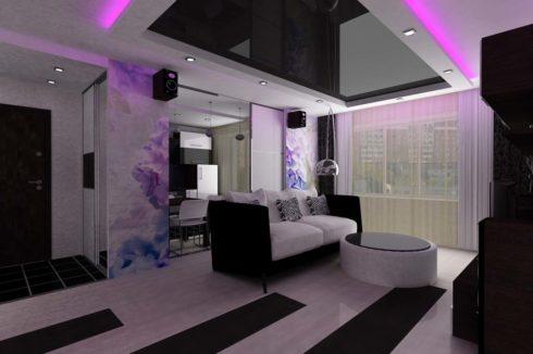черный глянцевый потолок с подсветкой