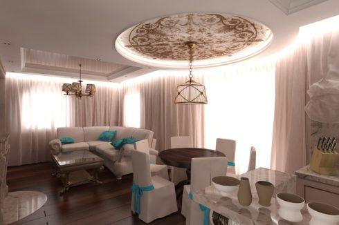 комната с округленной люстрой