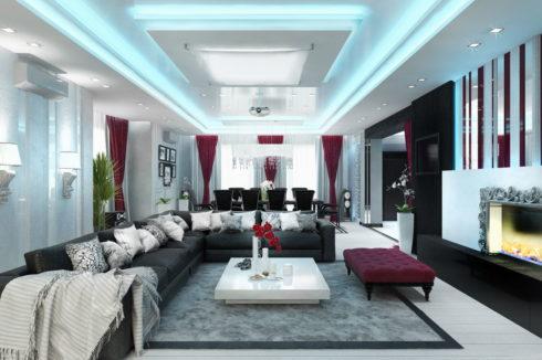 белый потолок с подсветкой
