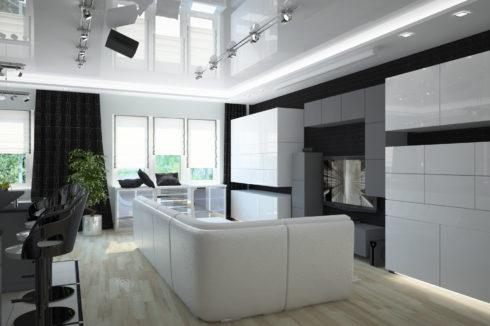 белый глянцевый потолок в гостиной