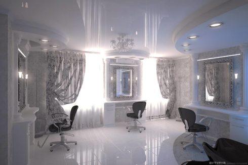 белоснежный потолок в белой комнате