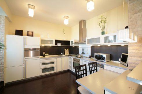 кухня с прямоугольными лампами