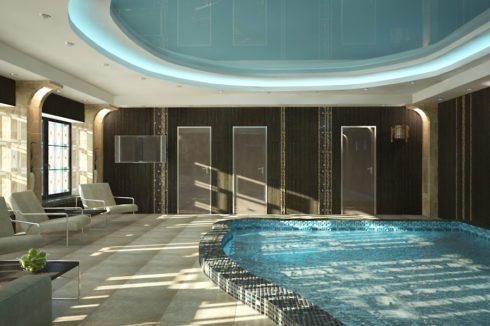 голубой глянец бассейн с подсветкой