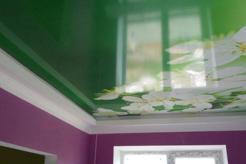 потолок с печатью цветов