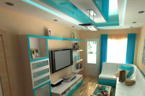 потолок в комнате цветом океан
