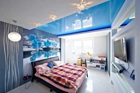 голубой глянец спальня
