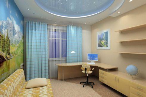 круглый светло-синий потолок