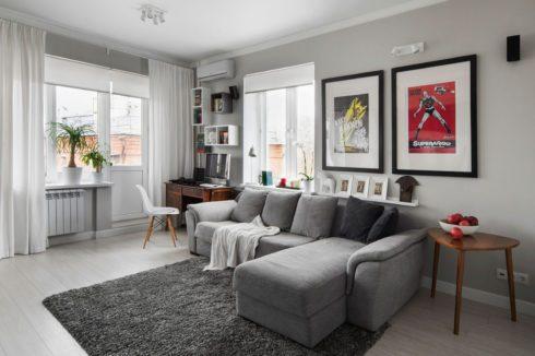 Комната с серым оттенком