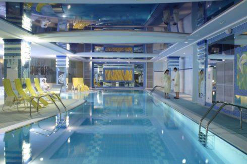 синий глянец натяжной бассейн