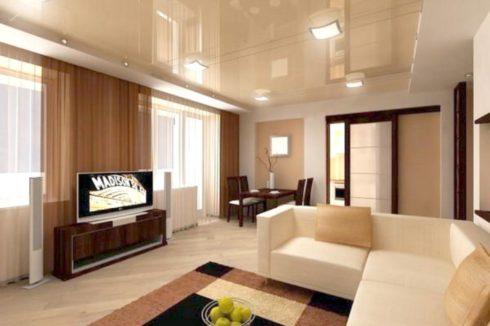 бежевый потолок в гостиной