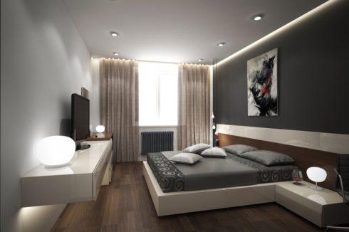 комната с темной кроватью