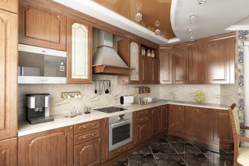 коричневый глянцевый на кухне