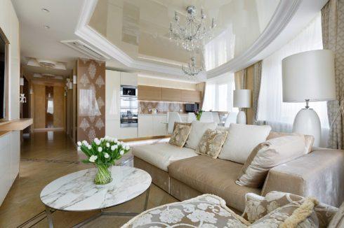 белый оттенка потолка в гостиной
