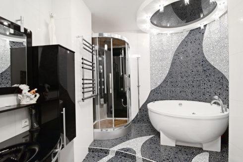 белый натяжной ванная