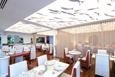 белый потолок с узором рыбы