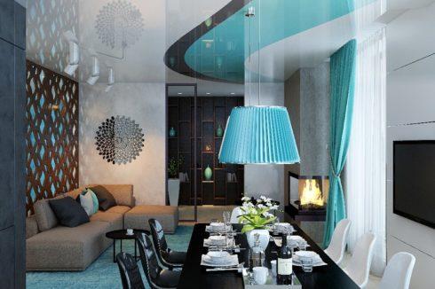 Бело-синяя комната
