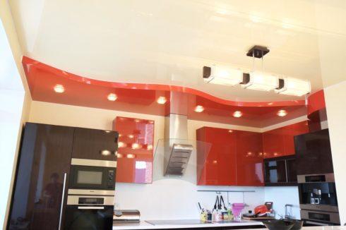красный многоуровневый глянец кухня