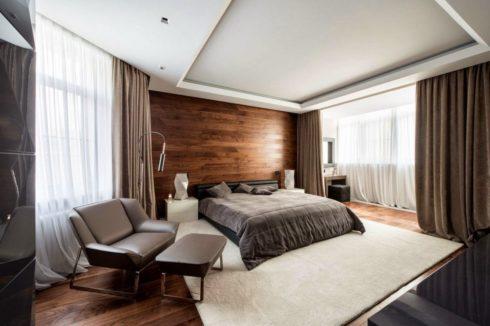 белый многоуровневый потолок спальня