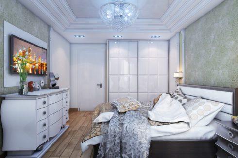 белый многоуровневый спальня