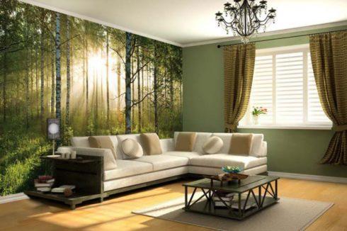 стена с фотопечатью берез