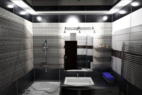 черный глянец ванная потолок